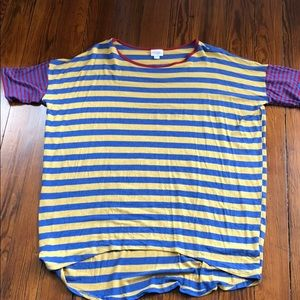 LuLaRoe stripped top. Maroon mustard and blue. L